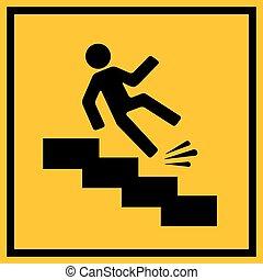 escorregadio, aviso, escadas, sinal