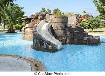 escorregar, crianças, piscina, natação