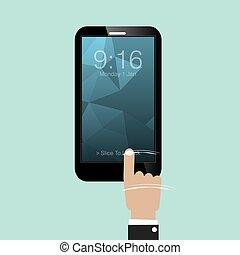 escorregar, vetorial, smartphone, destranque