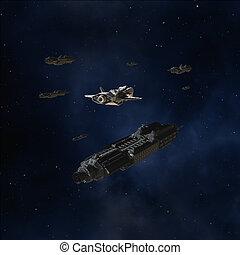 escorte, ruimte, diep, konvooi, schepen