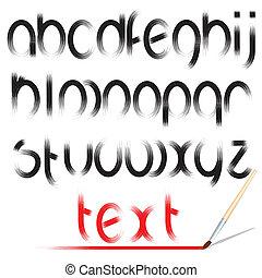 escova, alphabet., vetorial, desenho, fonte