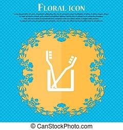 escova de dentes, ícone, sinal., floral, apartamento, desenho, ligado, um, azul, abstratos, fundo, com, lugar, para, seu, text., vetorial
