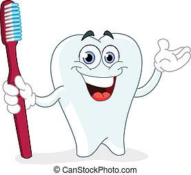 escova de dentes, caricatura, dente