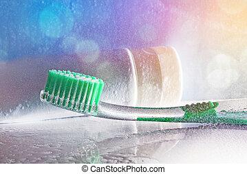 escova de dentes, colorido, washbasin, água, luzes, pulverizador