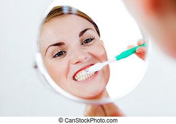 escova de dentes, dental, mulher, cuidado