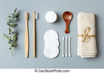 escova de dentes, experiência., ecológico, beleza, cinzento, bambu, toalha, earbuds, cuidado, produtos