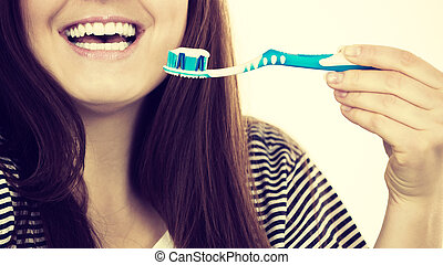escova de dentes, mulher, segura, paste.