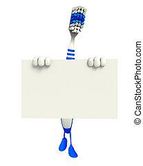 escova de dentes, personagem, com, sinal
