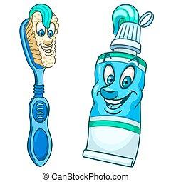 escova de dentes, toothpaste, caricatura