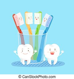 escova dente, caricatura
