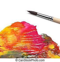 escova, e, abstratos, acrílico, pintado, fundo