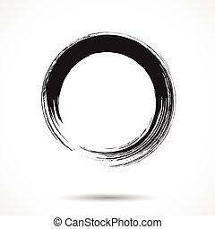 escova, pintado, tinta preta, círculo
