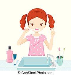 escovar, banheiro, pijama, dela, dentes, menina