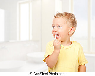 escovar, criança, dentes