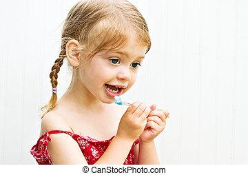 escovar, cute, pequeno, dela, dentes, criança, menina