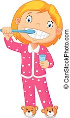 escovar, dela, jovem, t, menina, caricatura