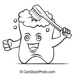 escovar, dente, mascote