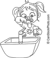 escovar, esboçado, menina, dentes