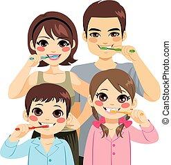 escovar, família, dentes