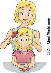 escovar, filha, cabelo, mãe