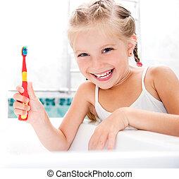 escovar, menininha, dentes