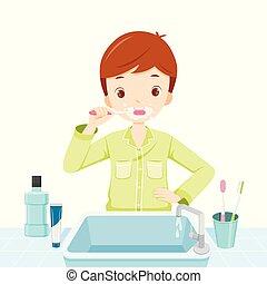 escovar, menino, banheiro, seu, pijama, dentes