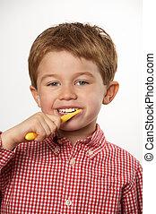 escovar, menino, jovem, dentes
