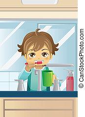 escovar, menino, seu, dentes