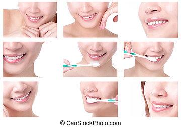escovar, mulher, cima, boca, dentes, fim