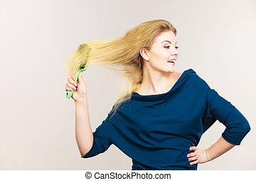 escovar, mulher, dela, cabelo longo, loiro