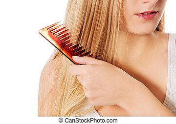 escovar, mulher, dela, jovem, cabelo, loiro
