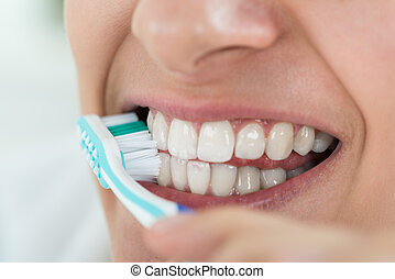 escovar, mulher, dentes