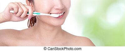 escovar, mulher, experiência verde, dentes