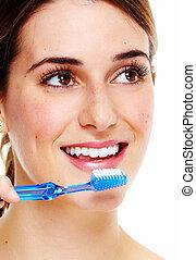 escovar, mulher, teeth.
