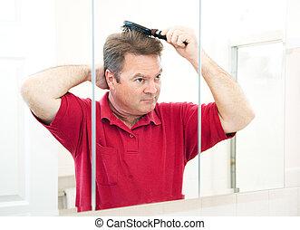 escovar, seu, cabelo, maduras, bonito, homem