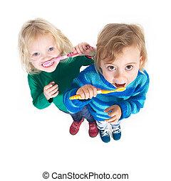 escovar, snacking, após, criança, dentes