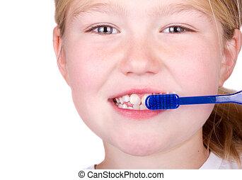 escovar, velho, dentes, criança