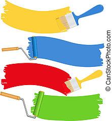 escovas, e, rolos, com, pintura