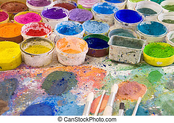 escovas, ligado, um, artist?s, paleta