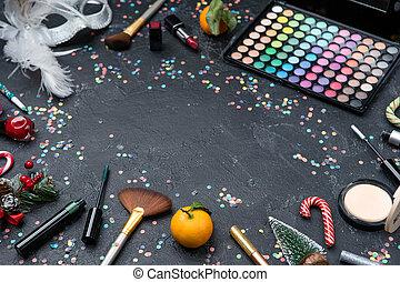escovas, sombras, batom, imagem, paleta, árvore, pretas, mandarin, tabela, natal