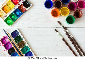 escovas, tintas, madeira, aquarela, topo, baixo, pintura, fundo, pintura acrílica, branca, set:, vista