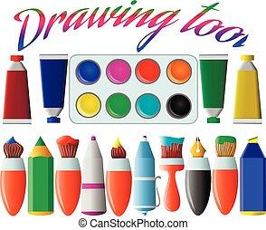 escovas, tools., jogo, illustration., marcador, pintura, vetorial, experiência., branca, caneta, desenho, lápis