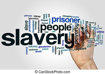 escravidão, palavra, nuvem