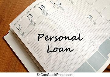 escreva, caderno, empréstimo, pessoal