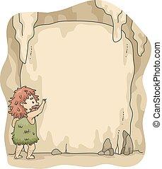 escreva, caveman, caverna, quadro