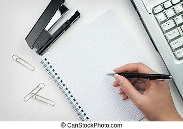 escreva, pronto, mulher, escritório