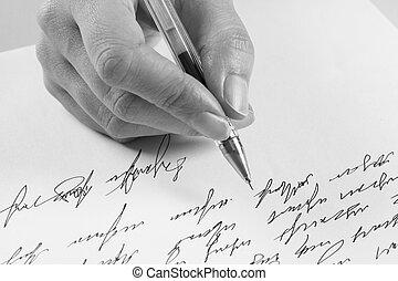 escreve, mulher, letra, manuscrito