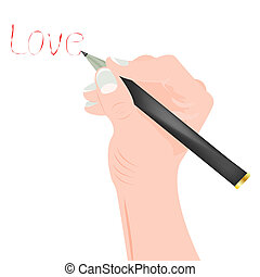 escreve, palavra, branca, mão humana