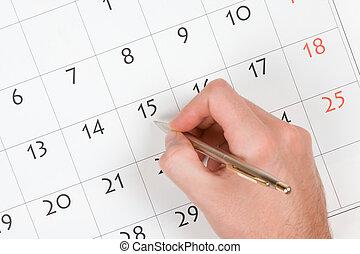 escribir, calendario, mano