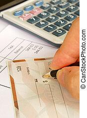 escribir, cuentas de la paga, cheque